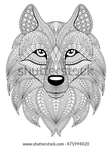 wolf head in zentangle style