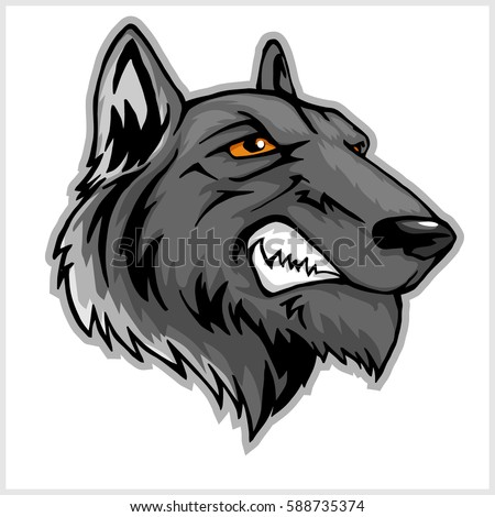 wolf head mascot isolated on