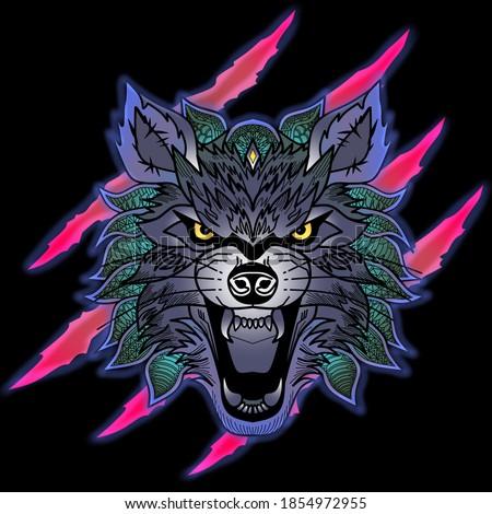 wolf head modern style vector
