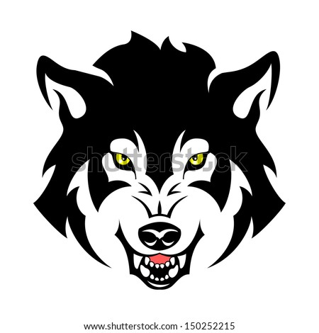 wolf head tribal emblem