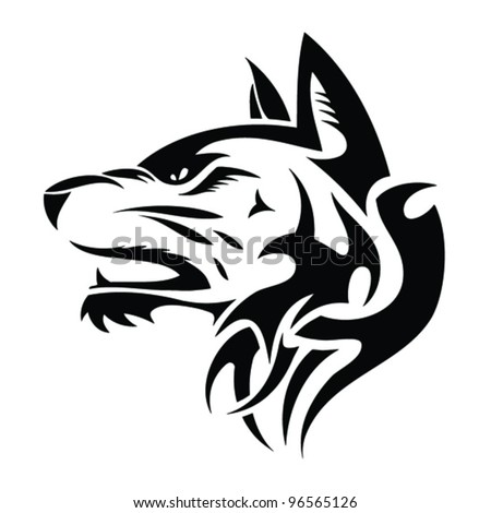 Wolf head - tribal tattoo illustration