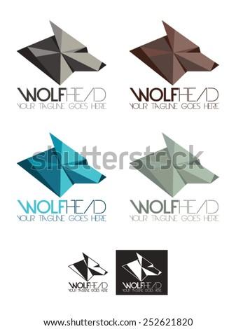wolf head vector logo template