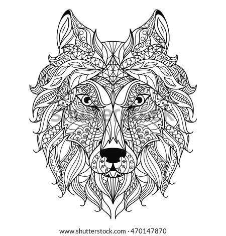 wolf head zentangle stylized