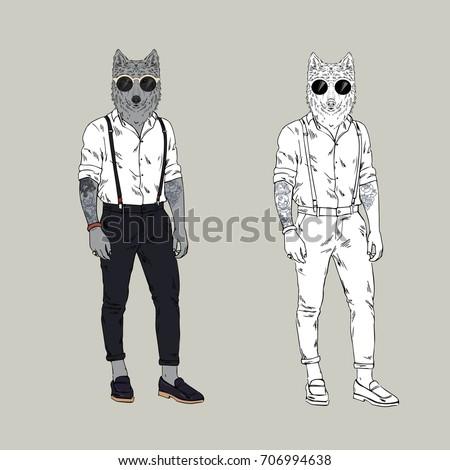 wolf hipster  furry art