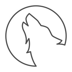 Wolf howling at moon thin line icon, Halloween concept, Wolf and moon sign on white background, Howling coyote icon in outline style for mobile concept and web design. Vector graphics.