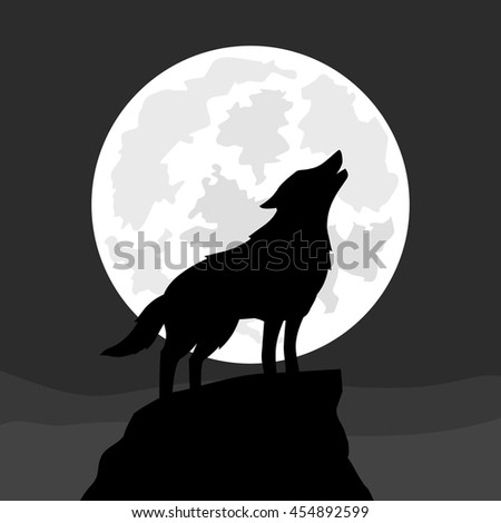 wolf howling at moon  vector