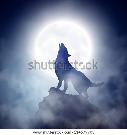 wolf howling at the moon eps 10