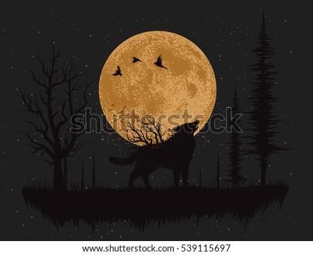 wolf howling at the moon in the
