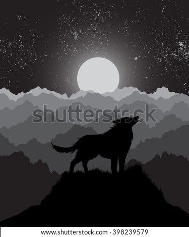 wolf howling at the night moon