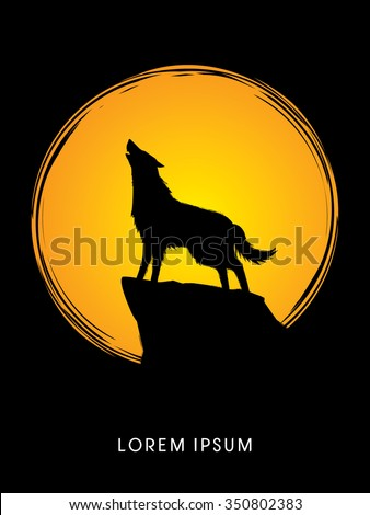 wolf howling  designed using on