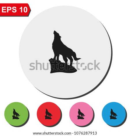 Wolf howling silhouette flat round colorful vector icon.