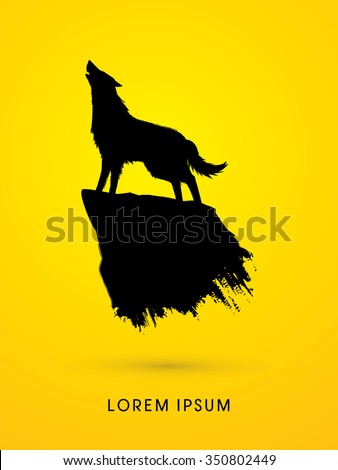 wolf howling  silhouette