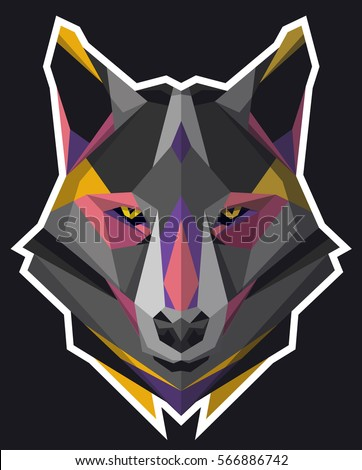 wolf icon abstract triangular