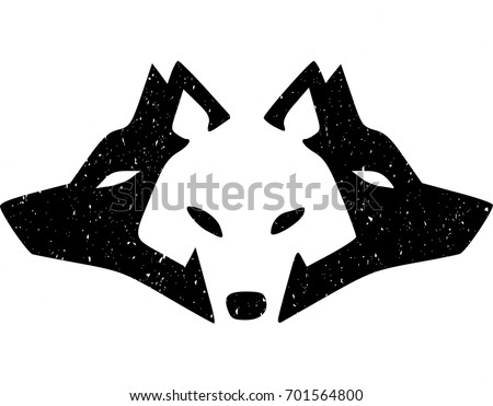 wolf icon with grunge