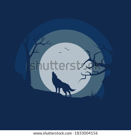 wolf in forest landscape  flat