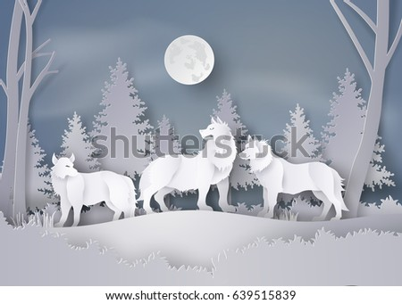 Stock Photo Wolf in forest with snow and full moon in the winter season.vector paper art style.