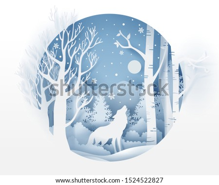 wolf in forest with snow in the