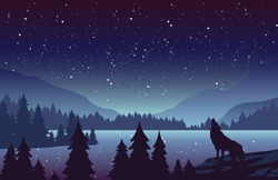 Wolf in mountains landscape flat vector illustration. Night nature scenery with fir trees and hills on horizon. Animal howling at full moon. Stars in sky. River in woods scene cartoon background.