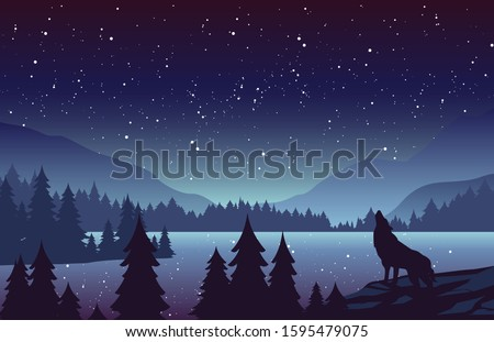 wolf in mountains landscape