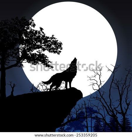 wolf in silhouette howling to