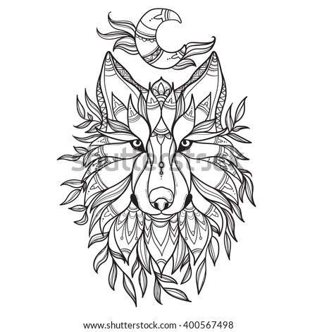 wolf in tribal style with moon