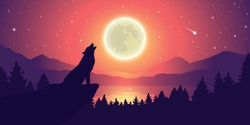 wolf is howling to the moon by the lake at starry sky vector illustration EPS10