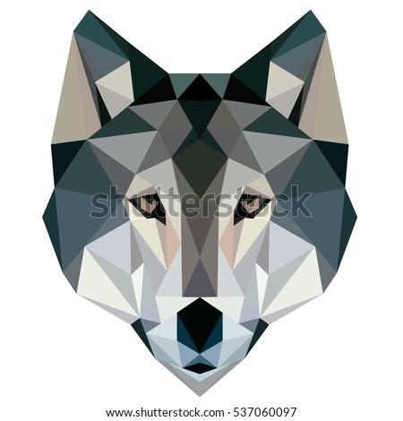 Wolf low poly, design geometric, animal illustration vector.