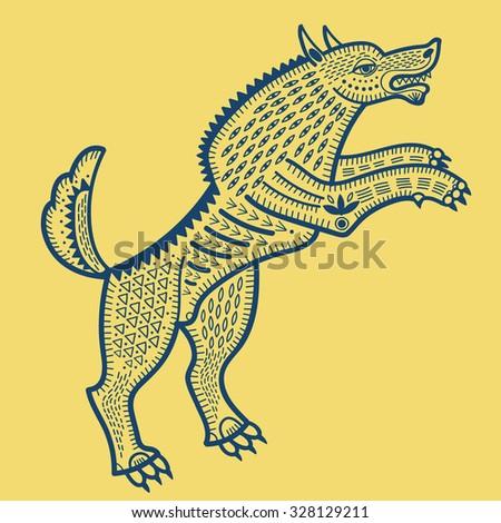 wolf lubok folk style