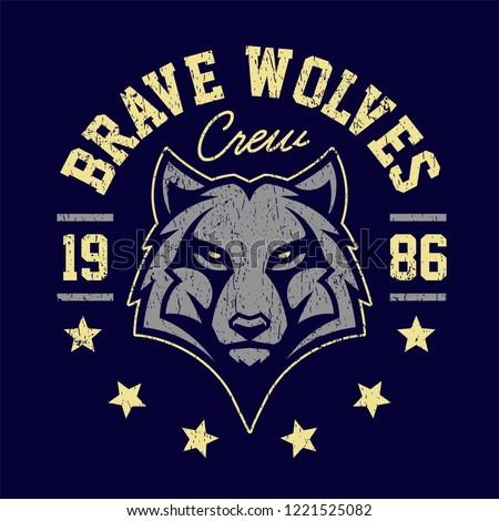 Wolf mascot grunge emblem design. T-shirt design for sport team with wolf looking dangerous. Vector art.