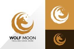 Wolf Moon Logo Design, Brand Identity Logos Designs Vector Illustration Template