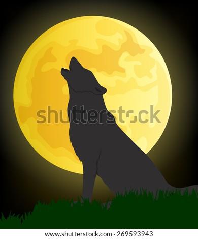 wolf moon vector
