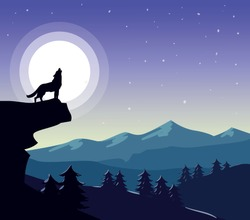 Wolf on the background of the moon, vectoe landscape