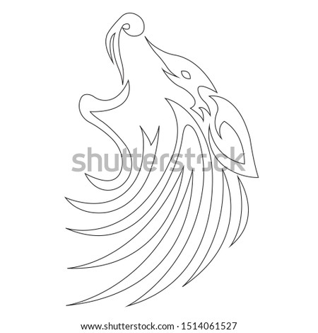Wolf silhouette outline, coloring outlined in black, drawn with various widths of lines. Logo animal wolf head. Vector illustration