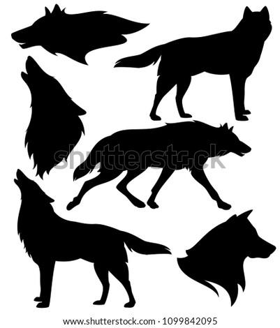 wolf silhouette set   black