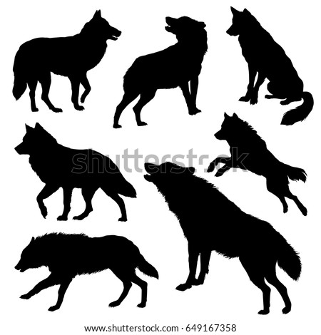 wolf silhouette set vector