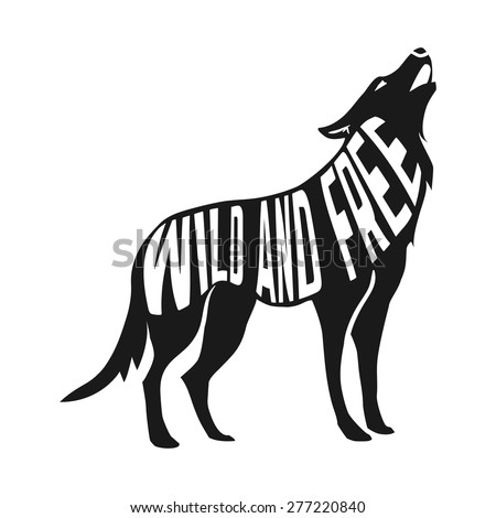 wolf silhouette with concept