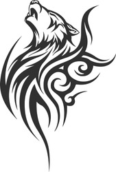 Wolf Tattoo Designs illustration of Wolf howling tattoo over isolated white background