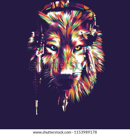 wolf vector pop art