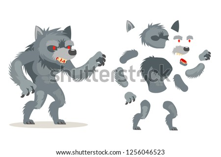Stock Photo Wolf werewolf fantasy monster medieval action RPG game character layered animation ready character vector illustration