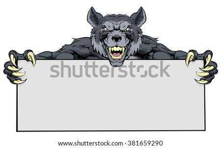 wolf werewolf mascot holding a