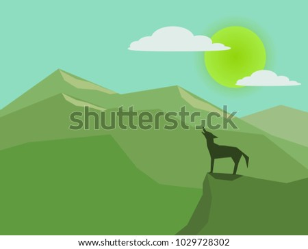 wolf with green nature