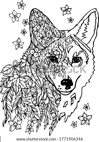 wolf with leaves flowers and