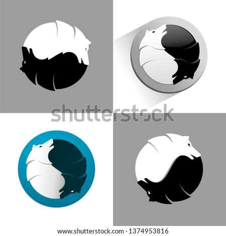 wolf ying yang vector icon