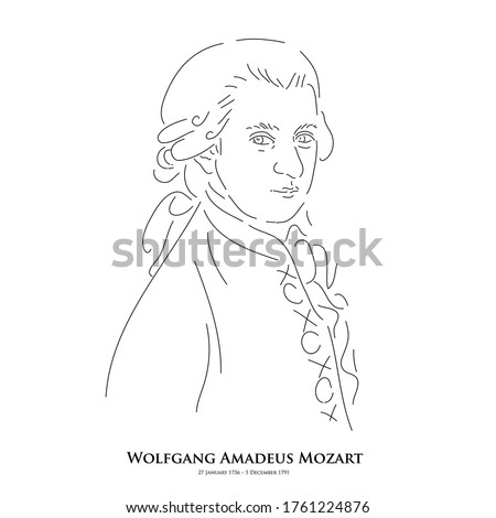 Wolfgang Amadeus Mozart(27 January 1756 – 5 December 1791) A master of historical music. Line drawing portrait illustration.  ストックフォト ©
