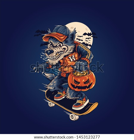 wolfman skater mascot vector