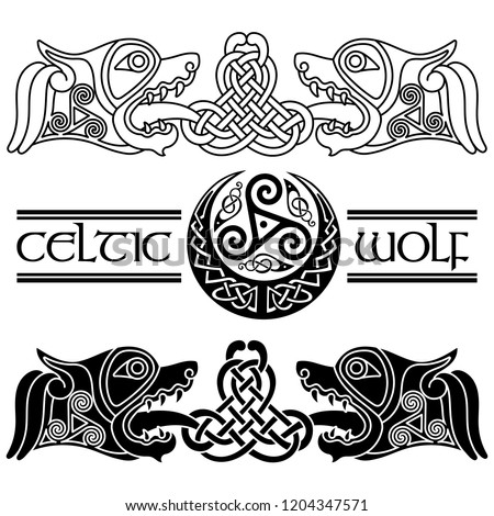 Wolfs in Celtic style, Celtic pattern and Celtic moon, isolated on white, vector illustration