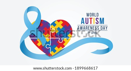 Wolrd Autism Awareness Day banner - blue ribbon roll around colorflu puzzle heart piece sign vector design