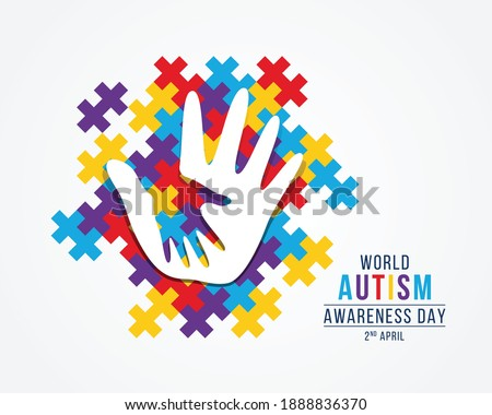Wolrd Autism Awareness Day banner with white adult and child hands sign on colorful puzzle piece background vector design