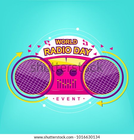 Wolrd Radio Day logo event with modern color