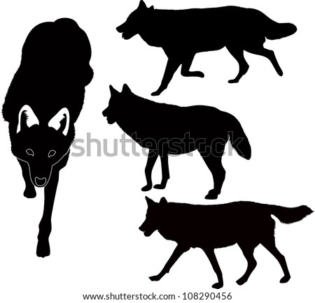wolves dog animals vector isolated on white background